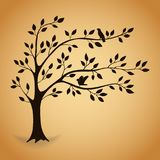 Silhouette tree with leaves. vector illustration