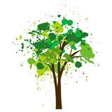 Silhouette of tree with leaves Royalty Free Stock Image