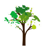 Silhouette of tree with leaves Stock Photography