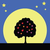 Silhouette tree of love Royalty Free Stock Photo