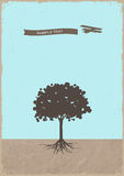 Silhouette of tree and old plane on grunge paper Stock Photo