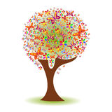 Silhouette of a tree with a pattern of butterflies and flowers Royalty Free Stock Images