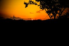 Silhouette tree time sunset in beautiful sky twilight time.  Royalty Free Stock Photos