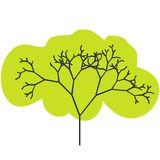 The silhouette of a tree with a trunk and branches with abstract leaves. Color vector icon. Royalty Free Stock Images