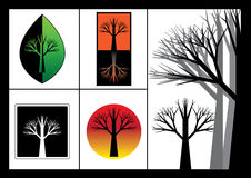 Silhouette Trees. On  black-white and color background Royalty Free Stock Images