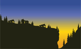 Silhouette of trees on the cliff. At the afternoon Royalty Free Stock Images