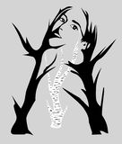Silhouette of trees, the image of a girl vector illustration