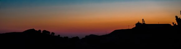 Sunset in the mountain village on Lesvos Greece royalty free stock photography