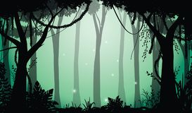 Deep forest view, vector illustration. Silhouette of trees and shrubbery in deep forest with fog and fireflies. Beautiful fairy panorama in dark forest Royalty Free Stock Photos