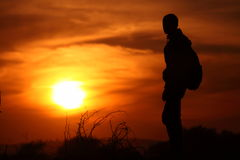Silhouette of a trekker Royalty Free Stock Photo