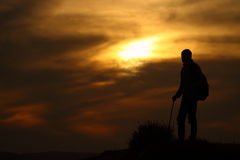 Silhouette of a trekker Royalty Free Stock Images