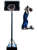 Silhouette trempante sautante de joueur de basket caucasien d'homme Photo libre de droits