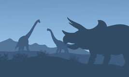 Silhouette triceratops and Brachiosaurus Royalty Free Stock Images