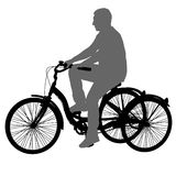 Silhouette of a tricycle male on white background Royalty Free Stock Photo