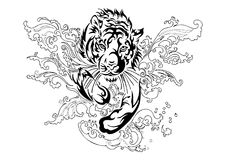 Silhouette tiger run and jump in splash river with oriental ornament tribal ink drawing tattoo. With white isolated background Royalty Free Stock Images