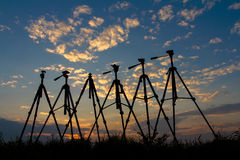 Silhouette of a tripod Stock Photography