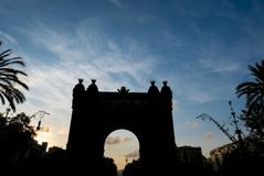 Silhouette of the Triumph Arch of Barcelona in a summer day. Stock Photography