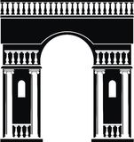 Silhouette of triumphal arch. Illustration of architectural element - Silhouette of triumphal arch with balustrade and windows niches Stock Images