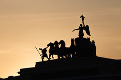 Silhouette of triumphal chariot, Saint-Petersburg, Russia Stock Image
