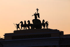 Silhouette of triumphal chariot, Saint-Petersburg, Russia Royalty Free Stock Images