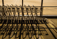 Silhouette of Trolley in airport Royalty Free Stock Photography