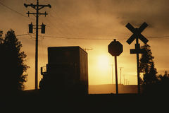 Silhouette of truck Stock Photos