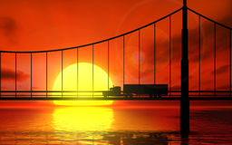 Silhouette of a truck on a bridge. Royalty Free Stock Photography