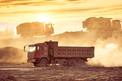 Silhouette of the truck in the building site Royalty Free Stock Photo