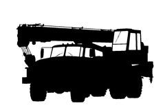 Silhouette of a truck crane. Royalty Free Stock Image