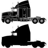 Silhouette of a truck Kenworth T600. Royalty Free Stock Images
