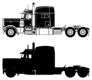 Silhouette of a truck Peterbilt 379X. Royalty Free Stock Photography