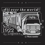 Silhouette of truck with trailer and lettering best transportation Logistics Stock Photos