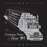 Silhouette of truck with trailer of logs or timber and lettering king of road Stock Photography