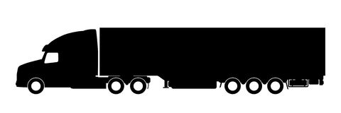 Silhouette of a truck with a trailer. Stock Image