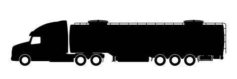 Silhouette of a truck with a trailer. Royalty Free Stock Photography