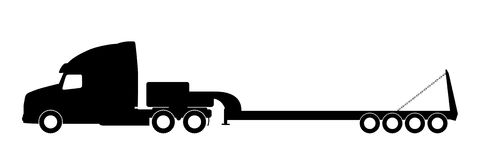 Silhouette of a truck with a trailer. Stock Photos