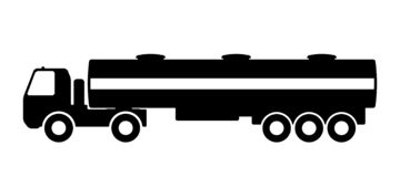 Silhouette of a truck with a trailer. Silhouette of a truck with a trailer on a white background royalty free illustration
