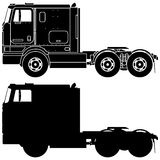 Silhouette of a truck International 9800. Stock Photos