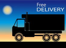 Silhouette of truck with the words free delivery Royalty Free Stock Image