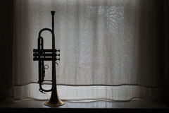 Silhouette of Trumpet Stock Photography