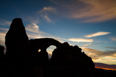 Silhouette of Turret Arch Stock Photo