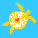 Silhouette of turtle with heart and lettering I Love Summer. Vector Royalty Free Stock Image