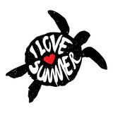 The silhouette of turtle with heart and lettering text I Love Summer. Vector Stock Photos