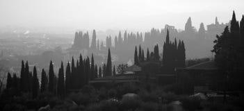 silhouette tuscany Arkivbild