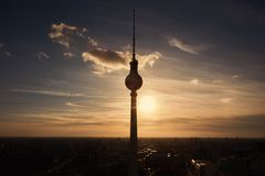Silhouette of the TV tower in Berlin at sunset. In the evening Royalty Free Stock Image