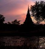 Silhouette Twilight Buddha Statue Royalty Free Stock Images