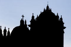 Silhouette of twin towers and dome of the historic Iglesia, Cusc Royalty Free Stock Images