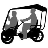 Silhouette of two athletes on tandem bicycle on white background.  Royalty Free Stock Image