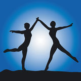 Silhouette of two ballet dance Royalty Free Stock Photo