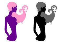 Silhouette of two beautiful girls Royalty Free Stock Image